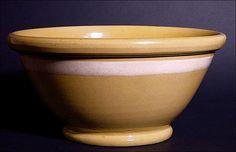 Huge Antique Yelloware Bowl w/ One White Stripe - Mid 19th C - Yellow Ware - Yellowware - Stoneware - Stone Ware