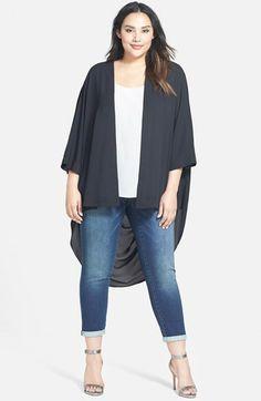 4f54ae1b6623e Plus Size High Low Kimono Curvy Women Fashion