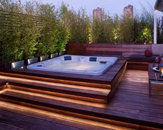 hot tub deck The backyard is a safe and private sanctuary, something that should be enjoyed in the evenings after a long day of work or in the morning before the kids are off to school. Hot Tub Garden, Hot Tub Backyard, Garden Jacuzzi Ideas, Jacuzzi Outdoor, Outdoor Spa, Outdoor Hot Tubs, Jacuzzi Tub, Outdoor Decor, Whirlpool Deck