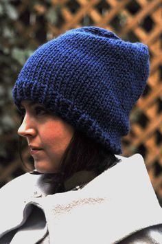 A cozy hat in electric blue warms up chilly days. $35.00.