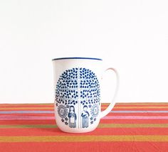 Vintage Scandinavian Mug -- Porsgrund of Norway -- Folk Art Coffee Cup -- Mid Century Mug -- Kitchen Decor -- Cobalt Blue & White by ImprovGoods on Etsy