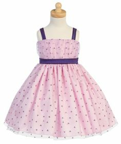 Lilac/Pink Valentine Tulle Dress w/ Glittered Hearts Design. How sweet for wedding season!!!