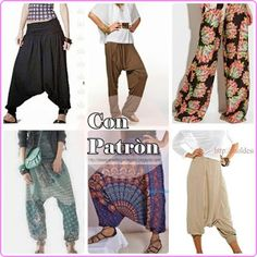 Ideas para el hogar: 6 Modelos de babuchas con moldes de costuras Hippie Chick, Pattern Drafting, Diy Clothes, Sewing Projects, Sewing Ideas, Needlework, Harem Pants, Yoga, Indian