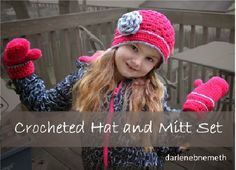 Crocheted Hat and Mitten Set