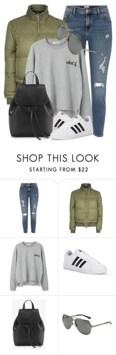 """""""Simple Look"""" by monmondefou ❤ liked on Polyvore featuring River Island, Topshop, MANGO, adidas, Dolce&Gabbana and GREEN"""