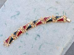 Signed Ivana six panel link bracelet gold tone enamel AB819 #IvanaTrump