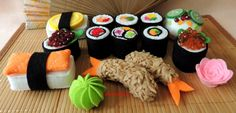 Felt Food, Japanese Felt Sushi Rolls Shrimp Salmon Roe Tamago Rice Vegetables…