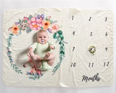 Baby Monthly Milestone Blanket Photography Props Backdrop for Newborn Boy Girl 721352064150 Baby Swaddle Blankets, Swaddle Wrap, Baby Girl Blankets, Baby Monthly Milestones, Educational Baby Toys, Baby Milestone Blanket, Personalized Baby Blankets, Custom Blankets, Baby Comforter