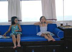 Maria Shriver and Caroline aboard Honey Fitz. (Cecil Stoughton/JFK Library)