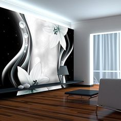murando® Fototapete Blumen Lilien 400x280 cm - Vlies Tapete - Moderne Wanddeko - Design Tapete - Wandtapete - Wand Dekoration - Blume schwarz weiß grau bokeh Ornament Abstrakt b-A-0246-a-c
