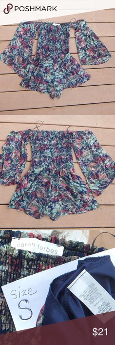 🌼🌼 Caren Forbes | ROMPER in Blue Floral (NWOT) Super cute romper! Elastic bodice & off shoulder neckline, bell sleeves. Mislabeled as a MED but it's really a SMALL Never worn, New Without Tags (NWOT)  D1391H Caren Forbes Dresses