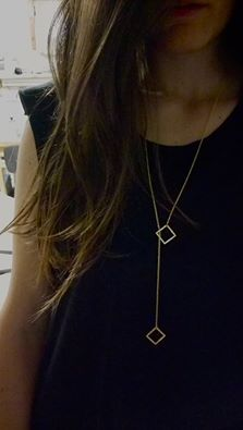 A ‪#‎lariat‬ necklace, is a very very long necklace without a clasp. The ends can be crossed over, looped, or knotted in various ways!  New collection photoshoot comin' soon! #disturbedjewelry #necklaces #SS15 #newcollection #geometry