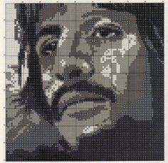 Borduurpatroon The Beatles Kruissteek *Cross Stitch Pattern ~Alle4: John, Paul, George, Ringo 1/5~