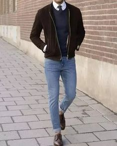 Men's Outfits 2021 | Lookastic Winter Outfits, Casual Outfits, Men's Outfits, Black Leather Biker Jacket, Suede Jacket, Smart Casual, Men Casual, Casual Sweaters, Winter Looks