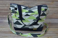 Water resistant Market Bag in Navy, Grey & Lime Triangle... great with jeans!
