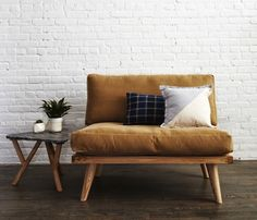 Mid century style tan sofa love seating