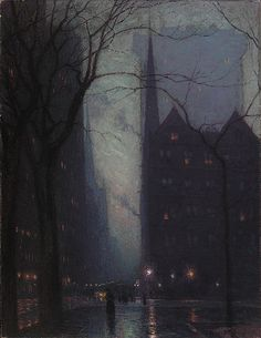 Birge Harrison - Fifth Avenue at Twilight [c.1909]- love the capturing of darkness and light.