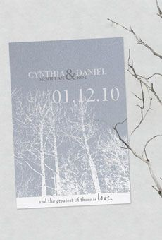 Brides: Winter Save-the-Dates | Wedding Ideas | Brides.com  This would be gorgeous but with an autumn background