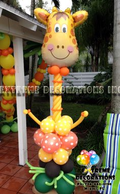 Jungle Theme Party Decorations - Balloon sculpture Happy Giraffe - Extreme Decorations Miami, FL 786-663-8198 extremedecorations@gmail.com