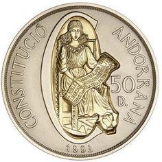 Moneda de plata y oro 50 Diners Andorra 1993 Constitució Andorra