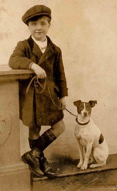 clever looking boy and Jack Russel terrier Vintage Children Photos, Vintage Pictures, Old Pictures, Rat Terriers, Fox Terrier, Antique Photos, Vintage Photographs, Amor Animal, Portrait Photography