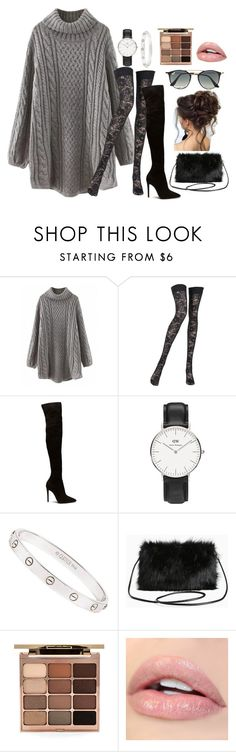 """""""Sweater and Boots"""" by alittlebitofu ❤ liked on Polyvore featuring Pierre Mantoux, Daniel Wellington, Cartier, Torrid, Stila, Ray-Ban and imthankfulfor"""