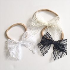 $9  School Girl Lace Bows with Nylon Band or Clip, White Lace Bow, Antique White Lace Bow, Black Lace Bow, nylon headbands, baby girl headband, newborn headband, one size fits most, toddler headband, accessories, baby bows, baby shower, birthday girl favor, girl birthday, stretchy headband, ever iris, hair bows, hair clips, baby girl, Valentine' Day bow for girls