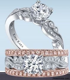 I love the rose gold and pink diamond wedding band. It would look lovely with my engagement ring :-) Unique Diamond Rings, Rose Gold Diamond Ring, Unique Rings, Curved Wedding Band, Diamond Wedding Bands, Wedding Jewelry, Wedding Rings, Gold Wedding, Two Tone Engagement Rings