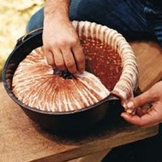 Baked Three-Bean Casserole with Crispy Bacon Recipe ~ Cowboy Cuisine on Food & Wine. By doctoring different types and sizes of canned beans with barbecue sauce and bacon, Adam Perry Lang creates an outrageously good version of baked beans. Easy Campfire Meals, Campfire Food, Camping Meals, Campfire Recipes, Camping Dishes, Camping Hacks, Backpacking Recipes, Camping Cooking, Camping Guide