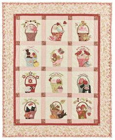 a Tisket a Tasket Applique Quilt Pattern From Bunny Hill Designs for sale online Bonnie Hunter, Quilt Kits, Quilt Blocks, Applique Quilt Patterns, Pdf Patterns, Applique Ideas, Sampler Quilts, Children's Quilts, Patchwork Quilting