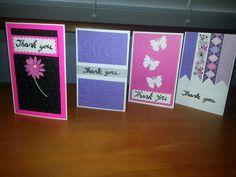 JLK: Quick & easy handmade thank you cards. I used punches, washi tape and my Cuttlebug to make these.