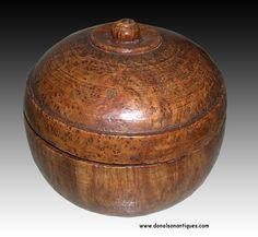 Ash burl sugar bowl, ca. 1780, with rich history.