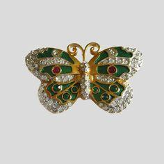 19a156480e1 #Swarovski #ButterflyPin Green Enamel & Hand Set Austrian #vogueteam