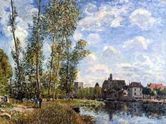 Moret view from the Loing by an afternoon in May by Alfred Sisley