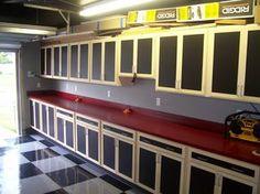 Custom built Garage Cabinets Garage, ideas, man cave, workshop, organization, organize, home, house, indoor, storage, woodwork, design, tool, mechanic, auto, shelving, car.