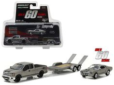 """2015 Ford F-150 with 1967 Custom Ford Mustang """"Eleanor"""" on Flatbed Trailer """"Gone in Sixty Seconds"""" Movie (2000) Hollywood Hitch & Tow Series 3 1/64 Diecast Model Cars by Greenlight"""