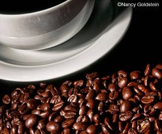 Photo, whole bean coffee, dark brown beans, white ceramic cup and saucer, food photography, cafe kitchen restaurant decor, fine art print at https://www.etsy.com/listing/171838480/photo-whole-bean-coffee-dark-brown-beans