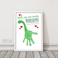 Handprint Art / Mom you are totally Roarsome / Kids Handprint Craft / Dinosaur Keepsake / Happy Mothers Day / Gift / Mom Printable Mothers Day Crafts For Kids, Fathers Day Crafts, Happy Mothers Day, Diy Mother's Day Crafts, Baby Crafts, Toddler Art, Toddler Crafts, Dinosaur Crafts Kids, Daycare Crafts