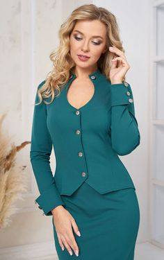 Dark turquoise business suit for women by Olesya Masyutina. Female skirt set green suit button-down jacket with a sexy neckline and a classic pencil skirt. 800 models of knitted and fabric women clothes in casual style, evening and wedding