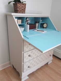 Stenciled desk with blue interior