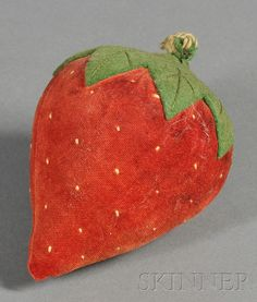Wool and Velvet Strawberry-form Pincushion, America, late 19th century, ht. 4 1/2 in