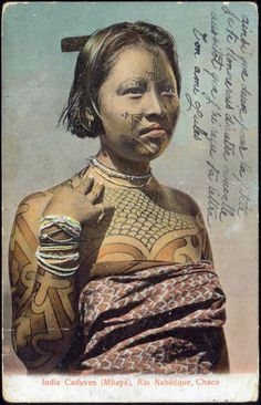 grand-bazaar:  1907 Argentina » Mbaya Indian Woman Caduveo Body Painting