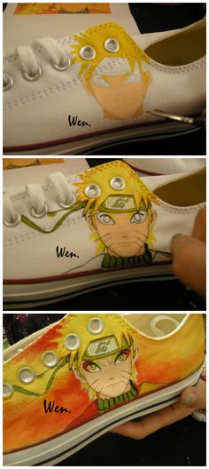 anime shoes,naruto,hand painted,converse all star shoes