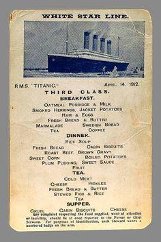 Desayuno y cena de tercera clase del Titanic