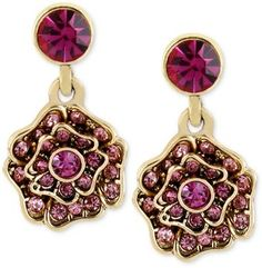 Betsey Johnson Goldtone Pink Crystal Flower Drop Earrings