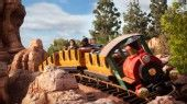 Disneyland rides: The Big Thunder Mountain Railroad train comes around a thrilling bend.