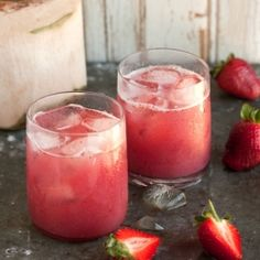 A delicious cocktail made with strawberries, coconut water and rum ( a little Parrot Bay, maybe?) ;)