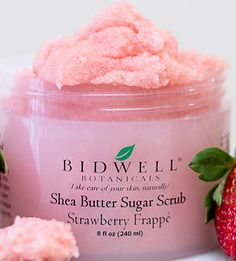 Strawberry Frappé Sugar Scrub -  A fruity whipped confection that helps smooth and refine skin texture. We naturally exfoliating strawberry fruit and soothing hibiscus flower extract with rich shea butter and pure cane sugar that leaves your skin baby soft with no greasy residue. $21.00