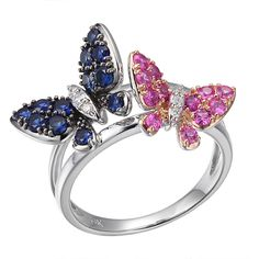 Butterfly Kiss -   Blue and pink sapphire gold butterfly ring