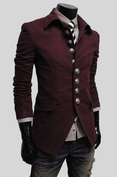 lovely buttons on men's steampunk jacket. Adore the color, cut, and details on the jacket, though I'm not a fan of jackets with pushed up sleeves because that just tells me that they are the wrong length.